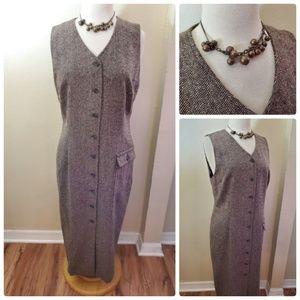 Talbots Petites Brown Wool Blend Jumper Dress